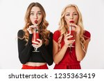 portrait of two cheerful young... | Shutterstock . vector #1235363419