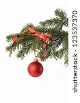 christmas bauble on a x mas tree | Shutterstock . vector #123537370