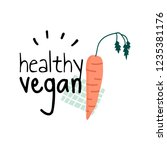 healthy vegan with a carrot...   Shutterstock .eps vector #1235381176