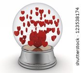 Snow Globe With Red Hearts On...
