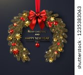 merry christmas and happy new... | Shutterstock .eps vector #1235383063
