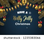 holly jolly christmas card with ... | Shutterstock .eps vector #1235383066