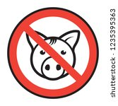 no pork  no lard  sign or... | Shutterstock .eps vector #1235395363