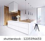 designed corner white kitchen... | Shutterstock . vector #1235396653
