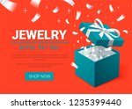 gift box and silver confetti.... | Shutterstock .eps vector #1235399440