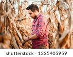 agronomist checking corn if... | Shutterstock . vector #1235405959