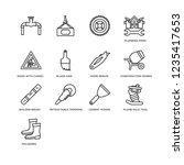 set of 16 construction linear... | Shutterstock .eps vector #1235417653