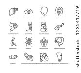 set of 16 diseases line icons... | Shutterstock .eps vector #1235417719