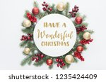 top view of pine tree wreath... | Shutterstock . vector #1235424409
