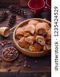 homemade cinnamon buns with...   Shutterstock . vector #1235424529
