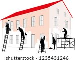 painters doing an exterior... | Shutterstock .eps vector #1235431246
