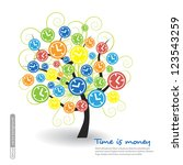 clock tree with icons. vector. | Shutterstock .eps vector #123543259