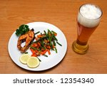 light beer and fried salmon... | Shutterstock . vector #12354340
