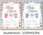 set of baby shower invitation... | Shutterstock .eps vector #1235441356