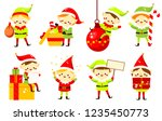 christmas elves. collection of... | Shutterstock .eps vector #1235450773