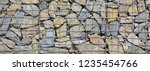stone gabion wall. gabions are... | Shutterstock . vector #1235454766