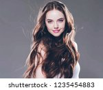 beautiful woman with long... | Shutterstock . vector #1235454883