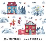 Stock photo watercolor pattern on a white background village houses with winter trees snowman hare and deer 1235455516