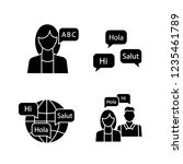 foreign language learning glyph ... | Shutterstock .eps vector #1235461789