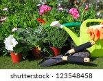 planting flowers with garden... | Shutterstock . vector #123548458