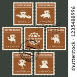 vector set of postage stamps on ... | Shutterstock .eps vector #1235488996