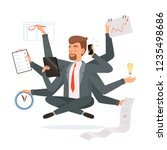 multitasking businessman.... | Shutterstock .eps vector #1235498686