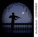 violinist  in the arch of a... | Shutterstock .eps vector #1235498800
