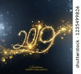 new year fireworks 2019 bright... | Shutterstock .eps vector #1235499826