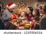 merry christmas  happy family... | Shutterstock . vector #1235506516