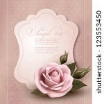 retro greeting card with pink... | Shutterstock .eps vector #123553450