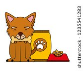 domestic dog with food | Shutterstock .eps vector #1235541283