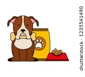 domestic dog with food | Shutterstock .eps vector #1235541490
