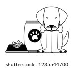 domestic dog with food | Shutterstock .eps vector #1235544700