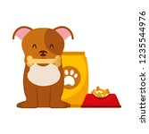 domestic dog with food | Shutterstock .eps vector #1235544976