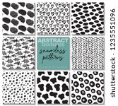 set of eight hand drawn ink... | Shutterstock .eps vector #1235551096