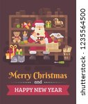 santa claus sitting at the desk ... | Shutterstock .eps vector #1235564500