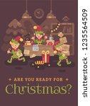 busy santa claus office. elf... | Shutterstock .eps vector #1235564509