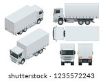truck delivery  lorry mock up... | Shutterstock .eps vector #1235572243