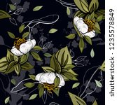 tropical vector seamless flower ... | Shutterstock .eps vector #1235578849