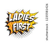 slogan ladies first in retro... | Shutterstock .eps vector #1235581426