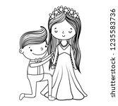 couple marriage cute cartoon... | Shutterstock .eps vector #1235583736