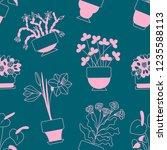 seamless pattern flower in pots ... | Shutterstock .eps vector #1235588113