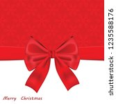 christmas card with red bow.... | Shutterstock . vector #1235588176