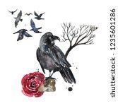 beautiful watercolor gothic... | Shutterstock . vector #1235601286