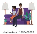 father and daughter sitting in... | Shutterstock .eps vector #1235603023