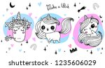 hand drawn vector unicorn...   Shutterstock .eps vector #1235606029