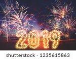 new year 2019 concept  firework ... | Shutterstock . vector #1235615863
