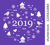 happy new year 2019 card.... | Shutterstock .eps vector #1235616883