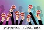 hands holding auction paddle.... | Shutterstock .eps vector #1235631856