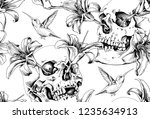 seamless pattern. human skulls... | Shutterstock .eps vector #1235634913